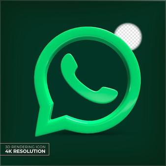 Logo aplikacji whatsapp 3d na białym tle
