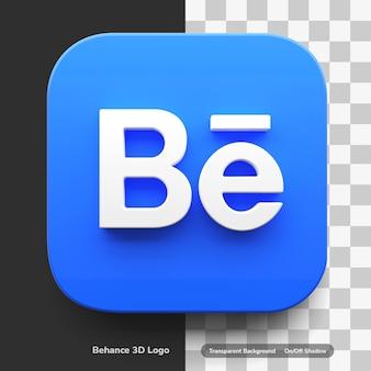 Logo behance apps w stylu 3d w zaokrąglonym narożniku, na białym tle