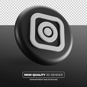 Logo czarny instagram renderowania 3d na białym tle