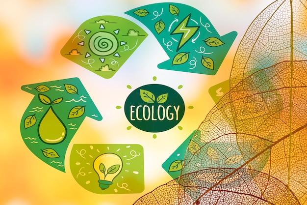 Logo ekologii z półprzezroczystymi liśćmi