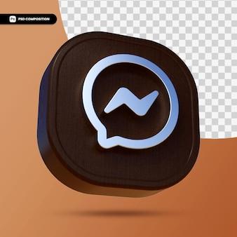 Logo facebook massenger na białym tle w renderowaniu 3d