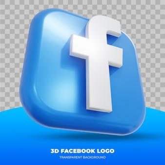Logo facebook na białym tle w renderowaniu 3d
