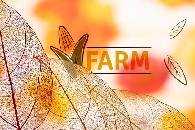 Logo farmy z półprzezroczystymi liśćmi
