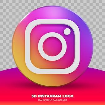 Logo instagram na białym tle w renderowaniu 3d