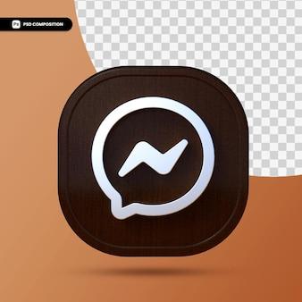 Logo komunikatora facebook na białym tle w renderowaniu 3d