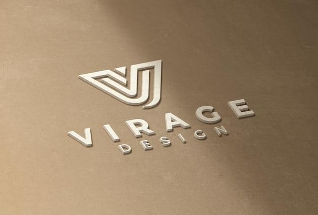 Logo makieta 3d białe drewno logo znak