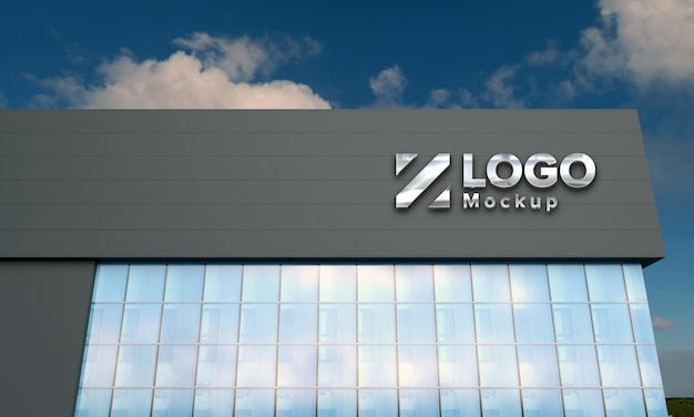 Logo makieta 3d znak czarny budynek 3d renderowane