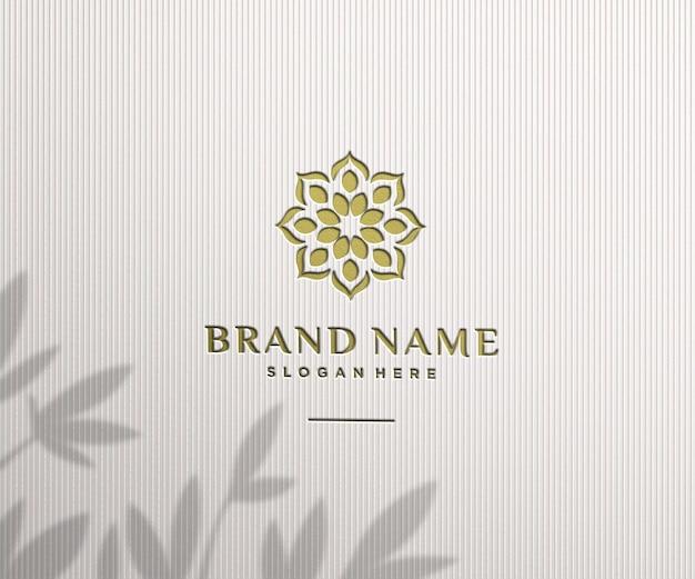 Logo makieta luksusowa pieczęć na ścianie