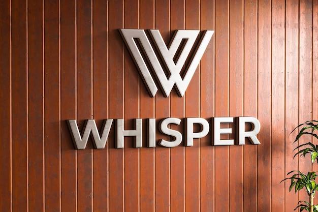 Logo makieta na fakturze drewnianej ściany firmy
