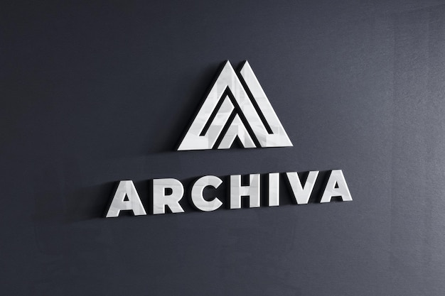 Logo makieta na firmowej ciemnoszarej ścianie tekstury