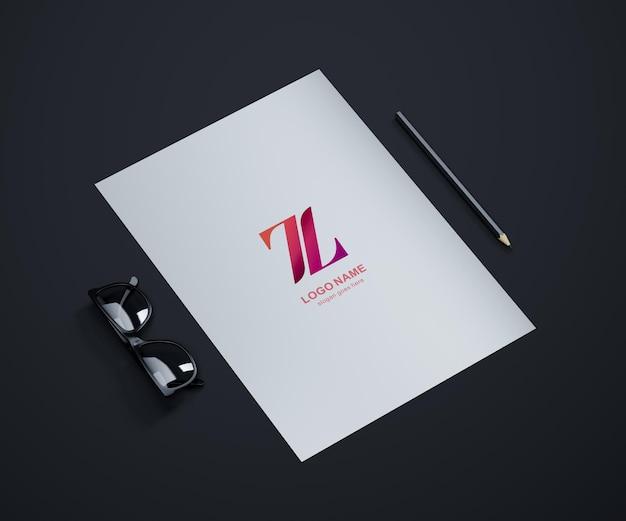 Logo makieta na papierze a4