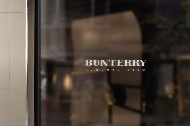 Logo makieta nowoczesne okno znak beżowa ściana