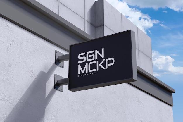 Logo makieta nowoczesny wiszący znak