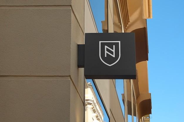 Logo makieta nowoczesny znak wiszący