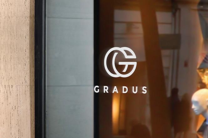 Logo makieta okno znak luksusowy sklep