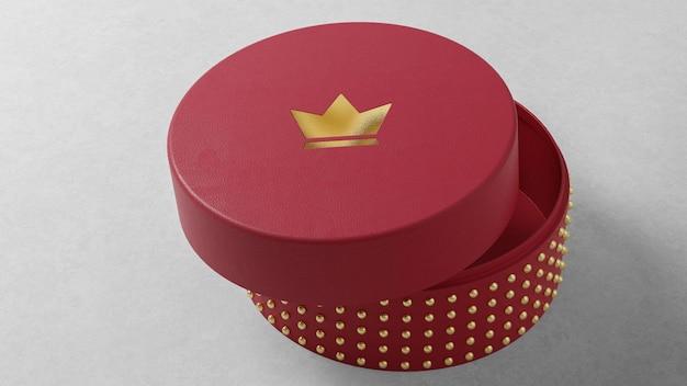 Logo makieta okrągłe czerwone pudełko na zegarek z biżuterią