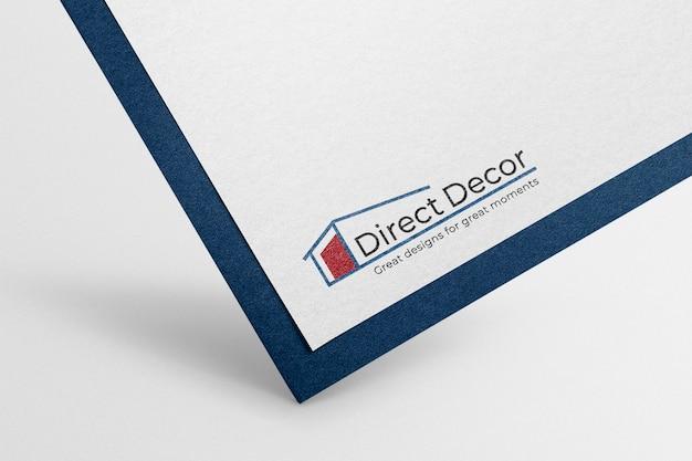 Logo makieta papieru psd, realistyczny nowoczesny design
