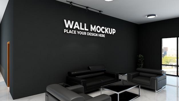 Logo makieta realistyczny znak biuro czarna ściana