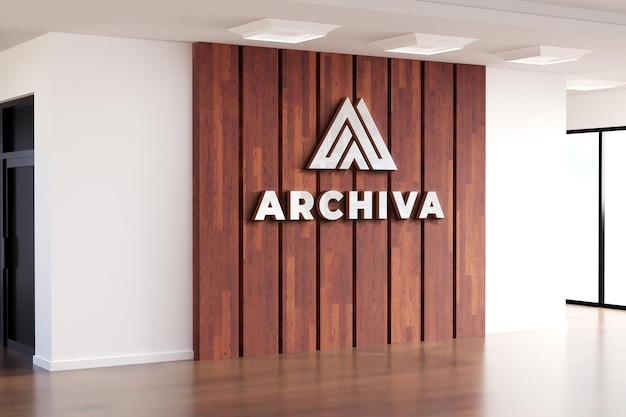 Logo makieta realistyczny znak ściana biurowa z drewna