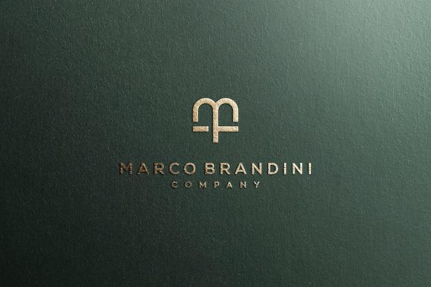 Logo makieta teksturowane luksusowe złoto