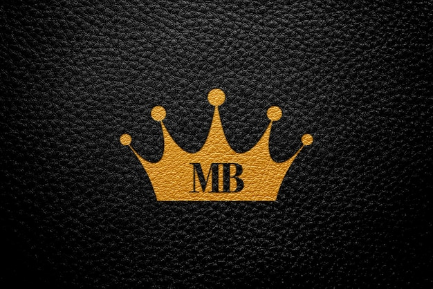 Logo makieta z czarnej skóry