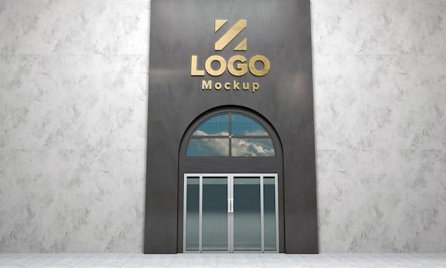 Logo makieta znak 3d budynek 3d renderowane
