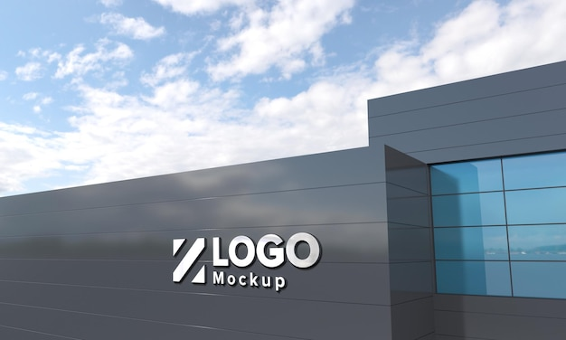 Logo makieta znak 3d czarna fasada budynek renderowany w 3d