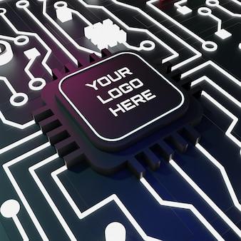 Logo makiety obwodów 3d z neonowym światłem z ciemną koncepcją