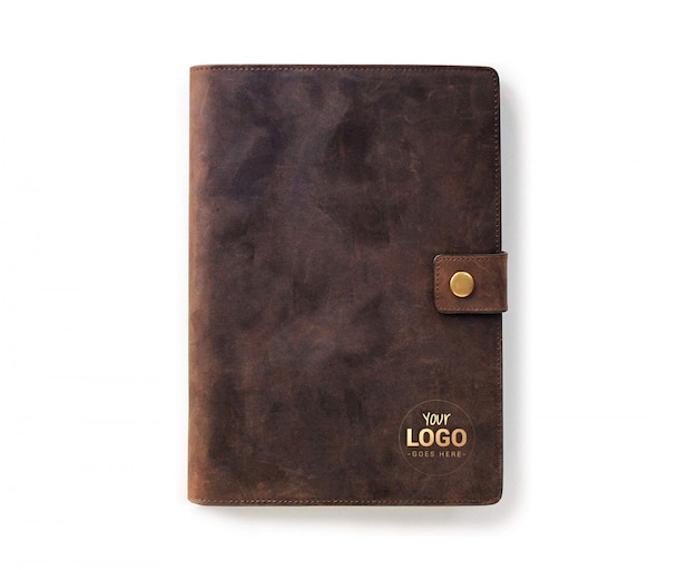 Logo mock up presentation with leather notebook