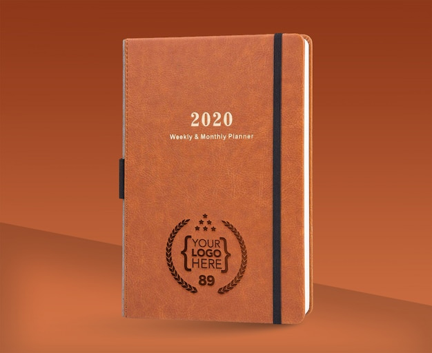 Logo mock up presentation with notebook 2020