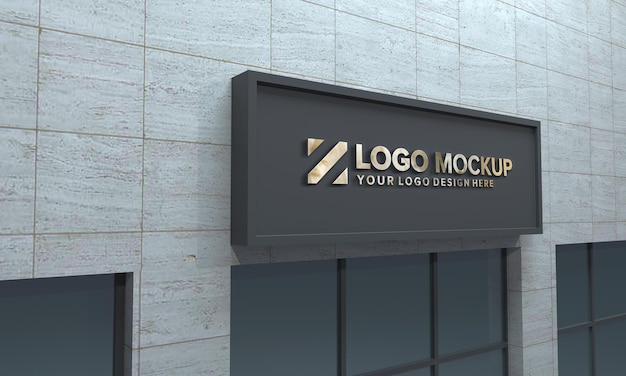 Logo mockup design widok z boku budynku 3d renderowane