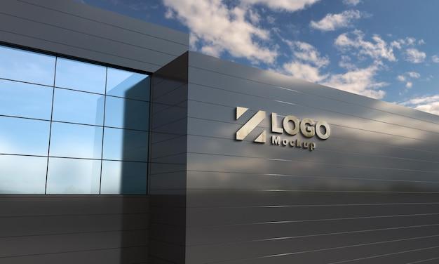 Logo mockup design widok z boku budynku renderowanie 3d