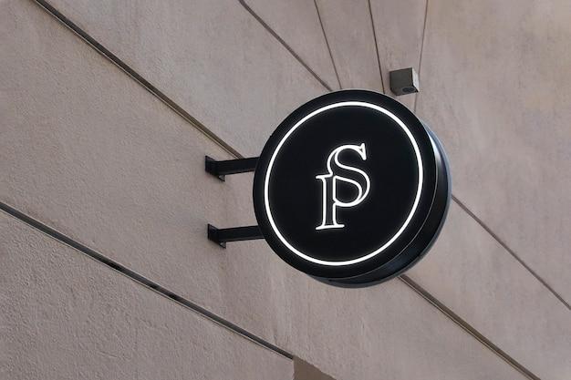 Logo mockup okrągły znak zawieszenia