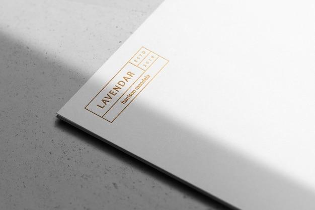 Logo mockup paper gold