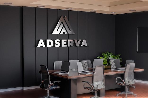 Logo mockup sala konferencyjna biuro czarna ściana realistyczne 3d