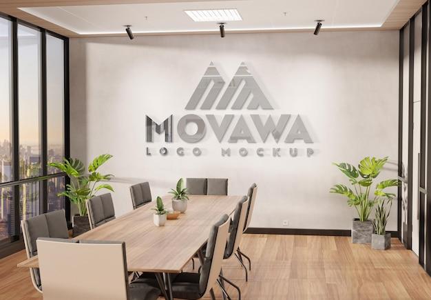 Logo na ścianie biura z makietą 3d z efektem metalu