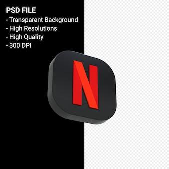 Logo netflix renderowania 3d ikona na białym tle