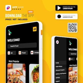 Logo promocji aplikacji na smartfony i przyciski pobierania ze skanowaniem kodu qr