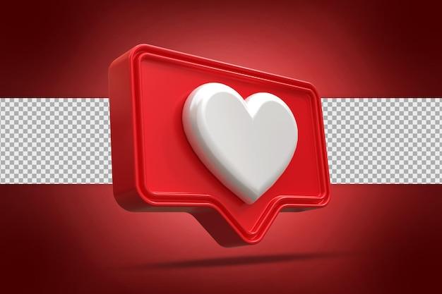 Logo przycisku serca w renderowaniu 3d