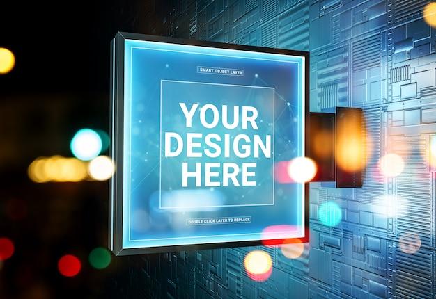 Logo sklepu z kwadratami zaloguj się w futurystycznej makiecie na ścianie