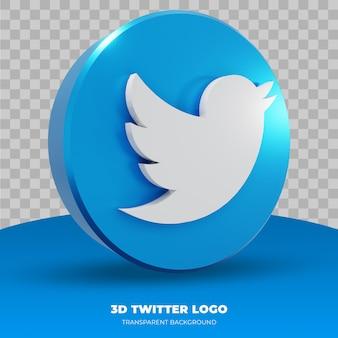 Logo twitter na białym tle w renderowaniu 3d