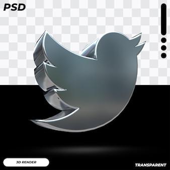 Logo twittera 3d w metalicznym kolorze