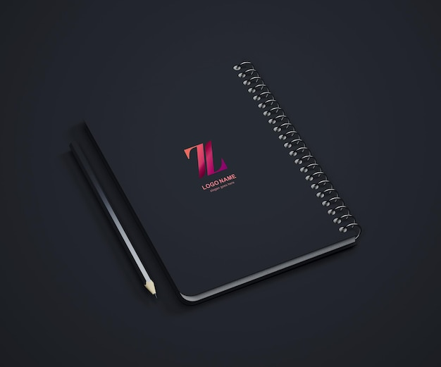 Logo w czarnej makiecie notebooka