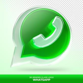 Logo whatsapp ze szkła akrylowego z przezroczystym renderowaniem 3d