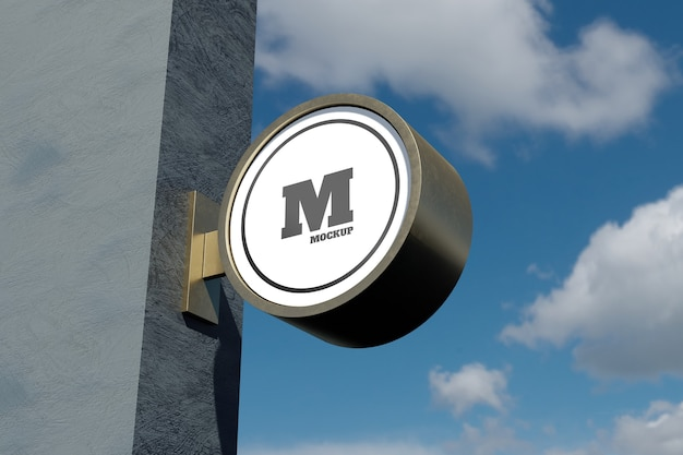 Logo znak makieta nowoczesne okrągłe okrągłe oznakowanie na zewnątrz z błękitnym niebem