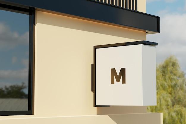 Logo znak makieta prostokąt pole oznakowania na fasadzie budynku biurowego
