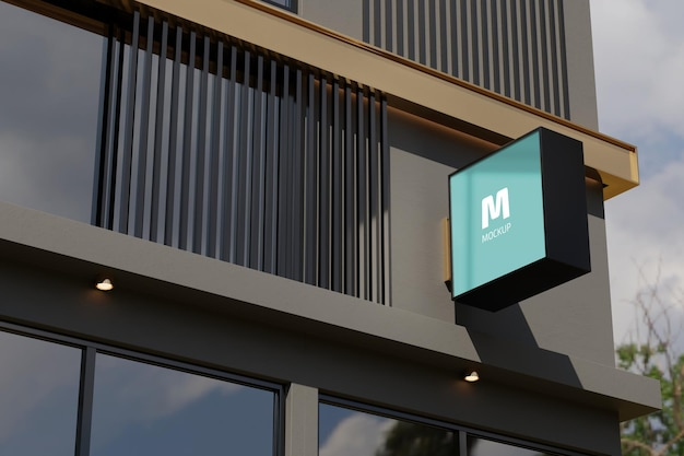 Logo znak makieta prostokąt pole oznakowanie na elewacji budynku biurowego