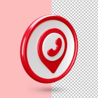 Lokalizacja 3d z renderowaniem ikony połączenia na białym tle