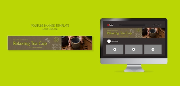 Lokalny sklep z herbatą szablon projektu banera youtube