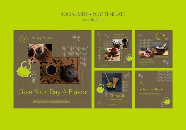 Lokalny sklep z herbatą szablon projektu postów w mediach społecznościowych